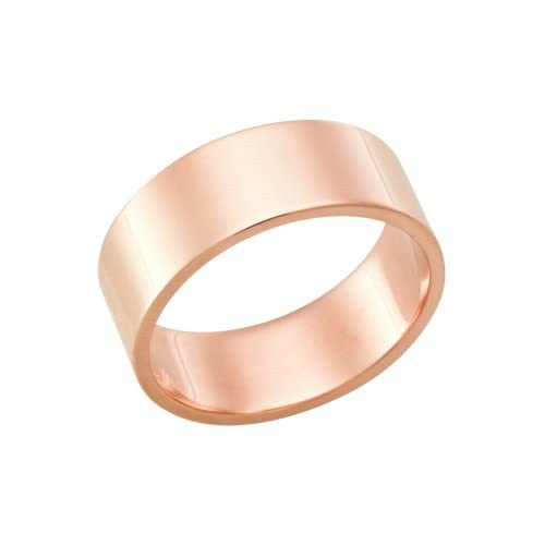 18Kt Rose Gold Heavy Wedding Band Ring in 7.0 Millimeters on Sale, Flat High Polished FSTFRK, Finger Size 13.75