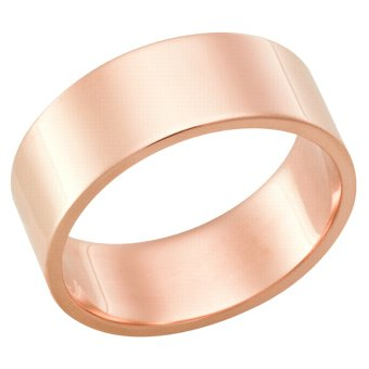 7.0 Millimeters, Flat High Polished 14Kt Rose Gold Wedding Band Ring, Style FSTF07MW by Wedding Rings by Oromi