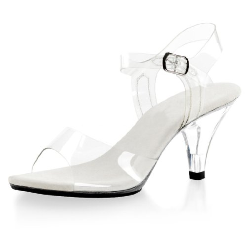 Demure and Elegant Women's Clear Strappy Sandals with 3 Inch Lucite Heels Size: 8 (Mid Heel Jellies compare prices)