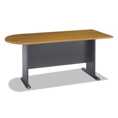 "72""W Universal Freestanding Peninsula Series A Natural Cherry by BUSH INDUSTRIES (Catalog Category: Furniture & Accessories / Desks / Wood)"