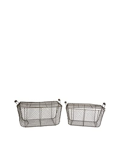 Uptown Down Set of 2 Lidded Nesting Wire Baskets, Natural