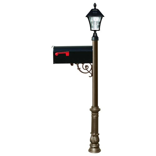Lewiston Mailbox With Post (Ornate Base And Solar Lamp) Color: Bronze