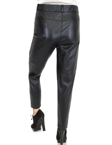 Anne Klein Anne Klein Women's Faux Leather Pants Size 4 Black Slim Leg Coated