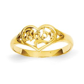Genuine IceCarats Designer Jewelry Gift 14K Baby Cut-Out Heart Ring Size 2.25