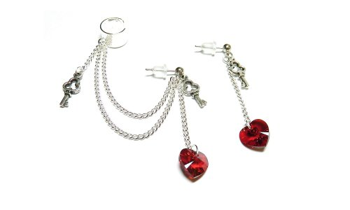 Swarovski Crystal Siam Heart Key Chain Ear Cuff Handmade