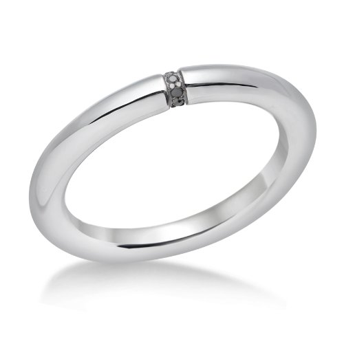 Miore 925 Sterling Silver Ladies (0.04ct) black Diamond Set Band Ring MPS005DRM - Size L