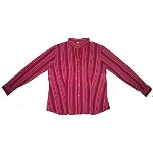Long Sleeve Stripe Button Down Shirt in Fuschia Pink / Purple - Ladies / Womens Size Large