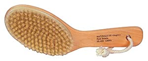 Kingsley Natural Bristle Body Brush with Contoured Wooden Handle