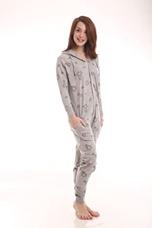 Funzee Adult Onesie Sleepsuit, One Piece Romper, Babygrow or Pyjamas, Snowflake Design in Sizes S - L (Medium Generous)