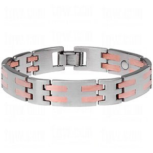 Sabona duet ss/copr bar bracelet slv/cpr lg 7.5in