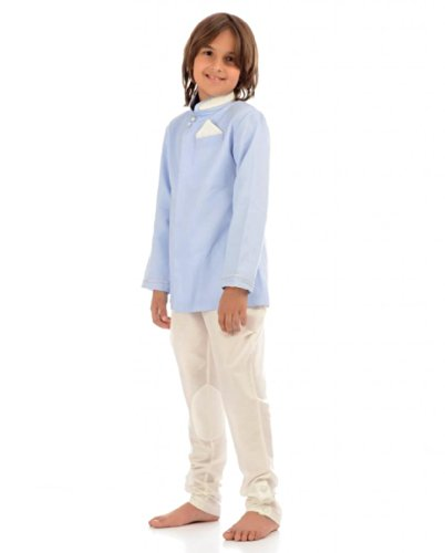 Kidology Baby Boys' Linen Ankur Band Gala Jacket with Indo Western Pant (KD/B/JKT/12/L-0352_Light Blue_1 year)