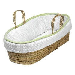 Minky Trim Moses Basket - Trim Color: Green front-1057594
