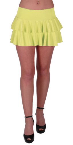 Amber Neon Ruffle Short Club Party Slinky Skirt