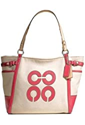 Coach Natalie Ivory White Canvas Primrose Pink Tote Bag 16756