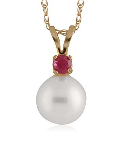 Splendid 7-7.5mm White Freshwater Pearl & Ruby Pendant Necklace