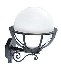 Saturn Outdoor Wall Light - Large Decorative Globe Lantern - 15w Daylight Bulb Included (LLGLES15D) by Lumena