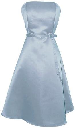 50s Strapless Satin Bridesmaid Bridesmaid Dress Homecoming, XS, Ice-Blue