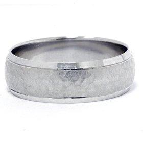 Mens 950 Platinum 7MM Hammered Wedding Ring Band New