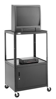 """Da-Lite Assembled 26"""" High Projector Cart With 20"""" X 30"""" Shelf, Storage Cabinet 5"""" Casters And Electrical Assembly"""