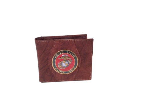 Marine Corps Genuine Leather Wallet Red Brown