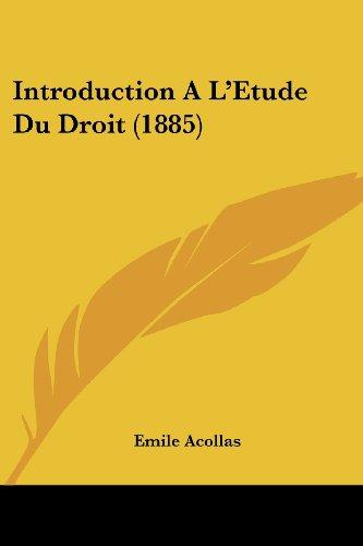 Introduction A L'Etude Du Droit (1885)