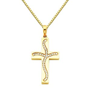 14K Yellow Gold CZ Cubic Zirconia Cross Charm Pendant with Yellow Gold 1mm Box Link Chain Necklace with Lobster Claw Clasp - Pendant Necklace Combination (Different Chain Lengths Available)
