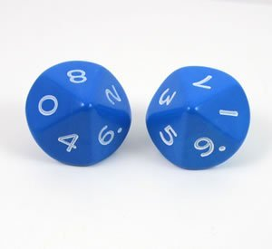 Blue Jumbo Polyhedral 10 Sided Dice - Set of 2