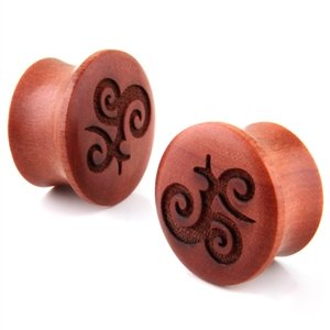 Guan Yin Calligraphy Wood Earplugs Gauges 7/16in