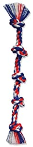 Flossy Chews Cottonblend Color 5-Knot Rope Tug, Super X-Large 72-Inch, Assorted Colors