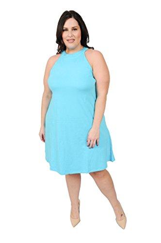 Plus Size Cotton Spandex Halter Neck Short Swing Dress