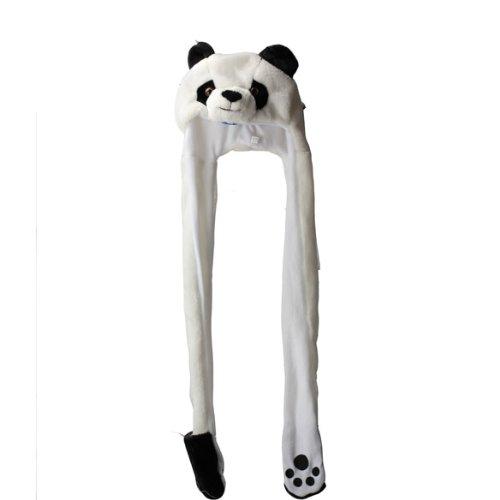 Vktech Erwachesene Kinder Mütze Hut + Schal + Handschuhe 3 in 1 (Panda)