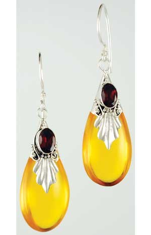 Amber Drop with Garnet Earrings (JEAMDG) -