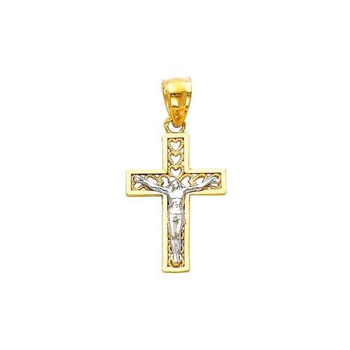 14K Yellow and White 2 Two Tone Gold Religious Jesus Cross Charm Pendant