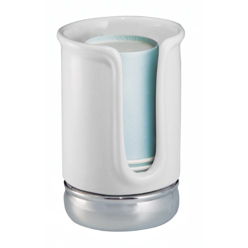 InterDesign York Disposable Cup Dispenser, White/Chrome