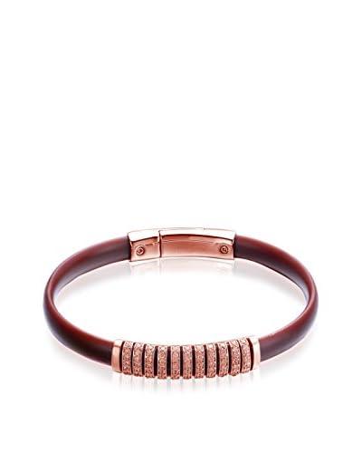 Alberto Moore CZ & Brown Silicone Bracelet