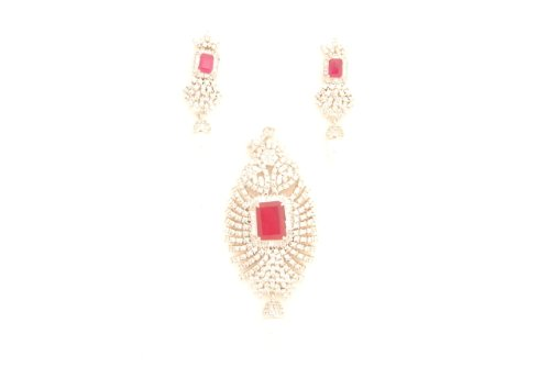 Fashion Balika Fashion Jewelry Gold-Plated Pendant Set For Women Pink-BFJER118 (Multicolor)