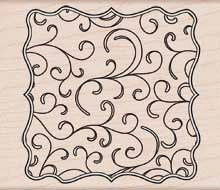 Flourish Frame Wood Mounted Rubber Stamp (H5437)