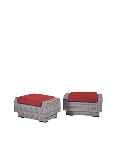 RST Brands Cannes Set of 2 Club Ottomans, Red
