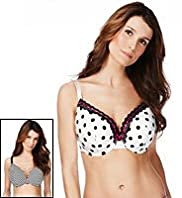 2 Pack Limited Collection Spotted & Striped DD-GG Bras