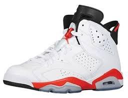 Air Jordan 6 Vi Retro Grade School Boy Basketball Sneakers White/Infrared/Black 384665-123 (SIZE: 6Y)