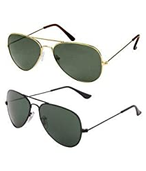 Brand logo Aviator Sunglasses Combo Eyewear Classic Fashion Adult (Frame Color: Golden frame/Coffee/Green mirror)