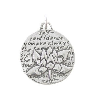 Sterling Silver Small Round Reversible Lotus Flower Pendant with Words of Inspiration