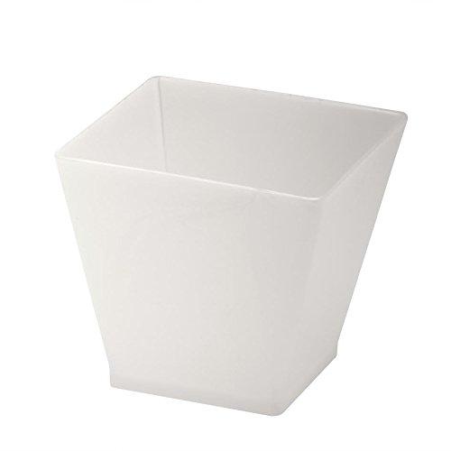 Elegant Square Mini Cube 2oz White Tasting Sample Glasses 40 Ct Zappy Dessert Cups
