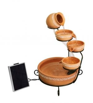 Ladonas Inlaid Terracotta Solar Cascade with Battery Backup and LED Lights