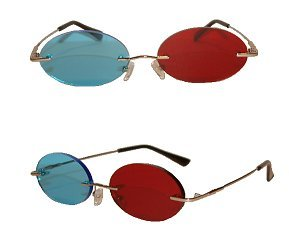 Red and Blue Anaglyph 3d Cosplay Glasses