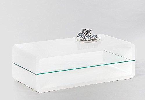 CRAVOG Couchtisch Hochglanz Weiß 120x40x60 cm Wohnzimmertisch mit Glasplatte Modern