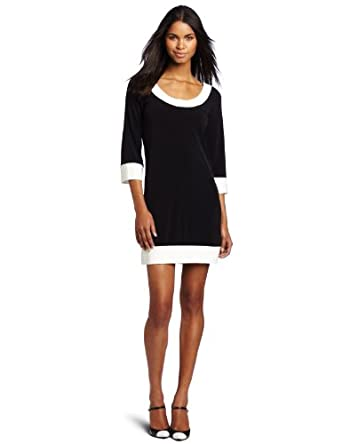 A.B.S. by Allen Schwartz Women's  Scoop Neck 3/4 Sleeve Dress, Black, X-Small