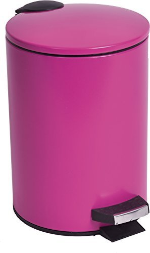 Round Metal Toilet Step Trash Can BATH HOME 3-liter/0.8-gal- Solid Color (FUCHSIA)