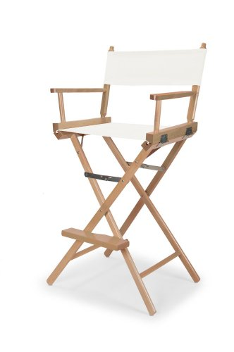 Telescope Casual Heritage Bar Height Director Chair, White with Varnish Frame