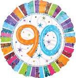 90th Birthday balloon - Prismatic Radiant 90th Birthday Flat 18